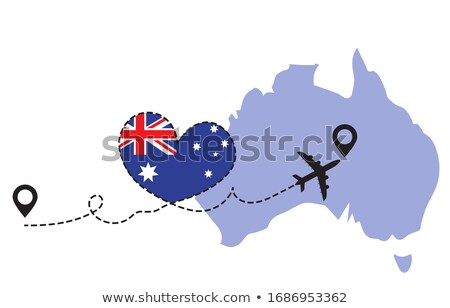 Stockfoto: Liefde · Australië · illustratie · teken · gezegde · kaart