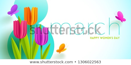 Colorful Women's day and spring card with butterflies  Stock photo © marish