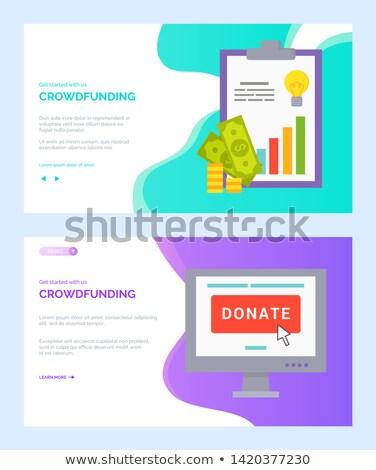 Adományoz online pénz jelentés vektor app Stock fotó © robuart