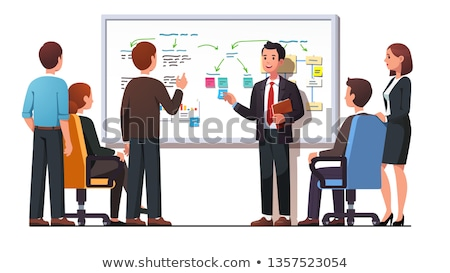 presenter and whiteboard workers listening to boss stock photo © robuart