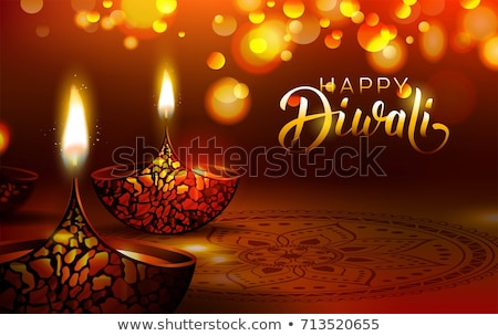 beautiful happy diwali bokeh background with diya design Stock photo © SArts