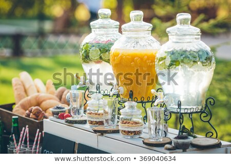 Glas jar limonade snoep bar bruiloft Stockfoto © dashapetrenko