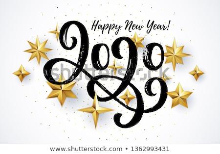 Foto stock: Feliz · ano · novo · escrita · cartão · festa · feliz · calendário