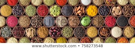 Stok fotoğraf: Renkli · otlar · baharatlar · pişirme · ahşap · tablo