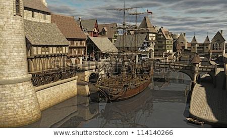 ヨーロッパの 中世 船 を実行して 波 水 ストックフォト © ensiferrum