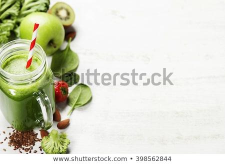 Smoothie verde kiwi maçã limão sementes saudável Foto stock © marylooo