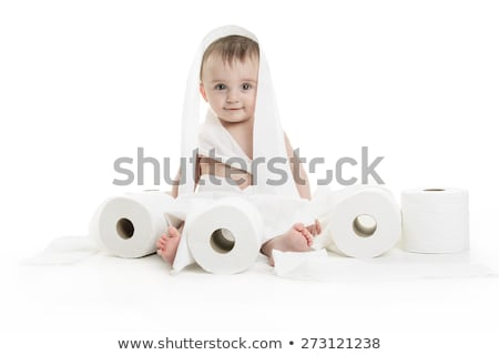 Toddler ripping up toilet paper in bathroom studio Stock photo © Lopolo