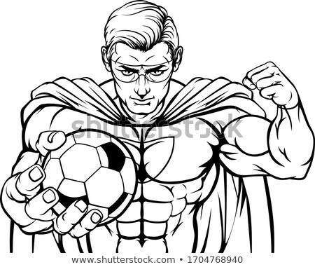 Superhero Holding Soccer Ball Sports Mascot Stock photo © Krisdog
