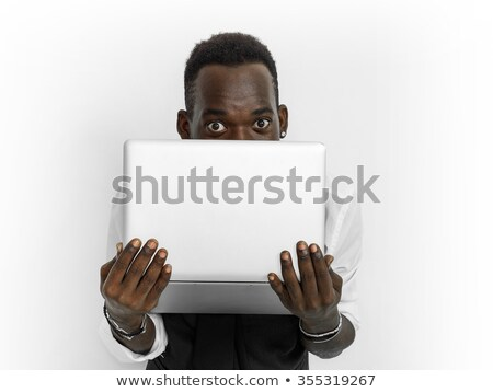 Businessman Hiding Behind Laptop Stock photo © AndreyPopov