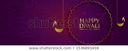 lovely purple royal happy diwali festival banner design stock photo © sarts