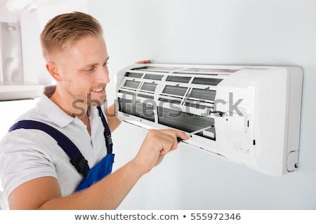 Arbeitnehmer Installation Luft Zustand Ausrüstung Elektriker Stock foto © simazoran