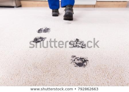 Kilátás sáros lábnyom szőnyeg személy sétál Stock fotó © AndreyPopov