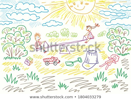 boy and a girl on swings on playground with smile on sunny summer day Stock photo © galitskaya
