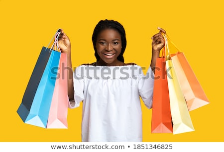Big Sale Cheerful Woman, Shopaholic Lady Smiling Stock photo © robuart