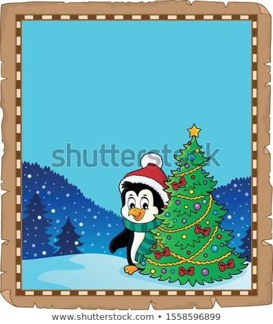ペンギン クリスマスツリー 羊皮紙 紙 幸せ 芸術 ストックフォト © clairev