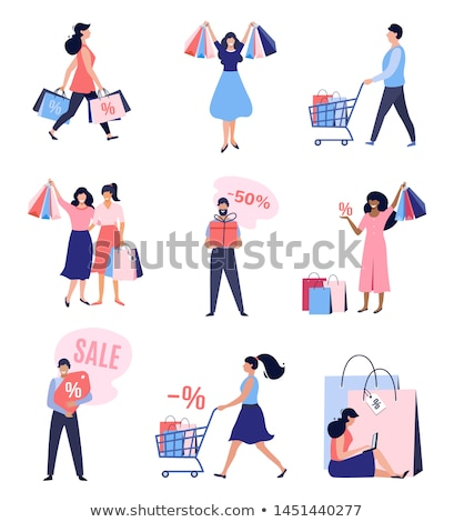 Shopping Woman Happy of Discounts and Sales Vector Stock photo © robuart