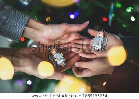 Angel Smiling Girl with Bauble, Christmas Holidays Stock photo © robuart