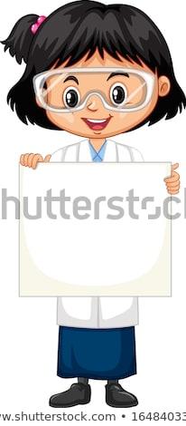 Kız bilim cüppe kâğıt beyaz Stok fotoğraf © bluering