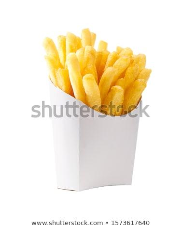 картофель фри бумаги окна черный продовольствие обеда Сток-фото © grafvision
