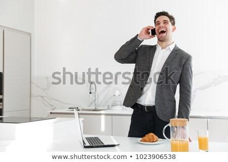портрет красивый удовлетворенный успешный бизнесмен сотового телефона Сток-фото © vkstudio
