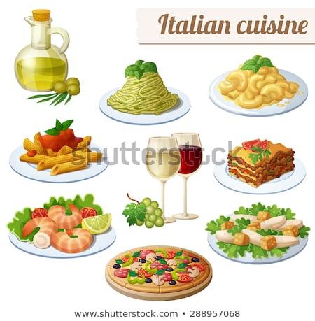 spaghetti with oil and white wine stock photo © microolga