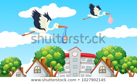 Stork and baby with house vector illustration  Stock photo © nezezon