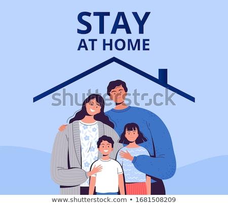 Oproep blijven home familie coronavirus Stockfoto © choreograph