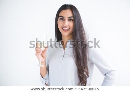 Otimista mulher vidro champanhe quadro Foto stock © deandrobot