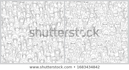 Set of vector colorful seamless art virus patterns. Black and wh Stock photo © ExpressVectors