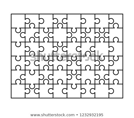 48 white puzzles pieces arranged in a rectangle shape. Jigsaw Puzzle template ready for print. Cutti Stock photo © evgeny89