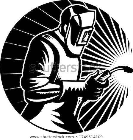 Soudage lampe de poche cercle rétro blanc noir Photo stock © patrimonio