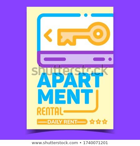 Bérlet lakás kreatív promo szalag vektor Stock fotó © pikepicture