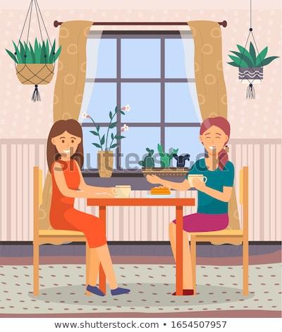 Intime Gespräch zwei Frauen Kaffeehaus Freunde Zeit Stock foto © robuart