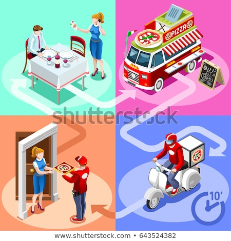 Pizza Site Order isometric icon vector illustration Stock photo © pikepicture