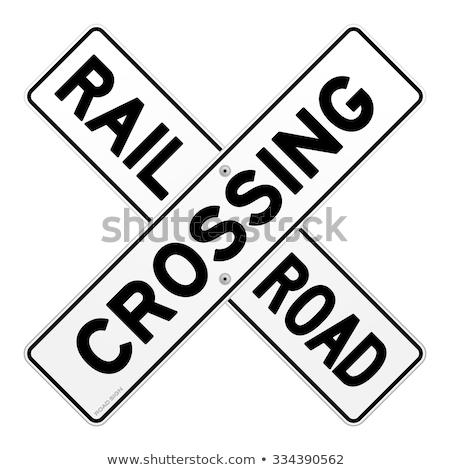 vonat · figyelmeztető · jel · vasút · felirat · szállítás · citromsárga - stock fotó © mybaitshop
