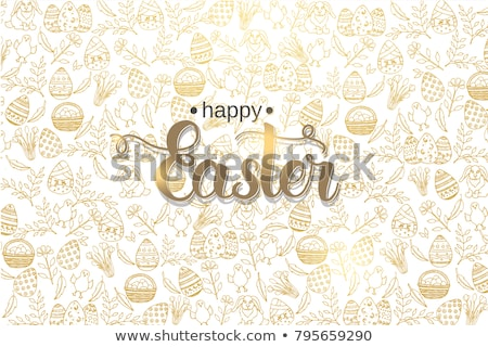 happy easter icons and green grass stock photo © adamson