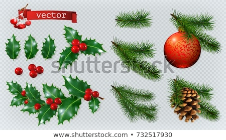 christmas decoration of ball and holly leaves stock photo © LoopAll
