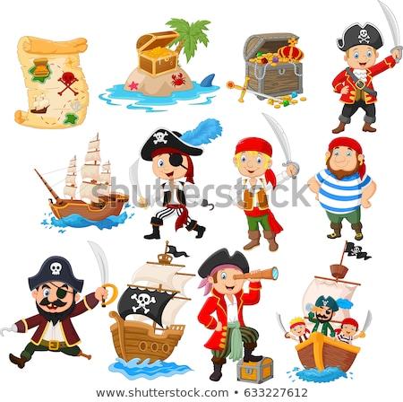 ストックフォト: 海賊 · コレクション · セット · ワイン · 地図 · 海