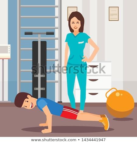 Mutlu yaralı erkek tıbbi bakım şimdi Stok fotoğraf © lovleah