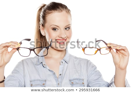 charmant · zakenvrouw · vergadering · kantoor · bril - stockfoto © photography33