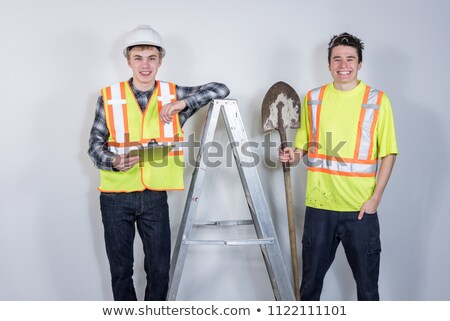 Foto stock: Laborer Leaning On A Ladder Isolated On White Background
