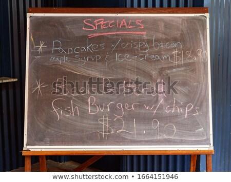 Stock fotó: Hal · sültkrumpli · kézzel · írott · fehér · kréta · iskolatábla