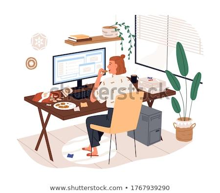jovem · mulher · de · negócios · computador · isolado · branco - foto stock © juniart