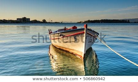 Yunan balık tutma tekneler küçük liman su Stok fotoğraf © timwege