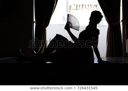 mulher · bonita · transparente · vintage · ventilador · retro · beleza - foto stock © gromovataya