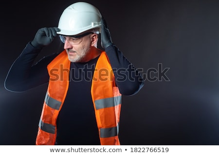 Lugar casco rojo completo cara mujer Foto stock © cboswell