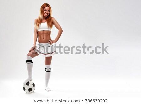 csinos · futballista · fehér · néz · nyertesek · szobrocska - stock fotó © stockyimages