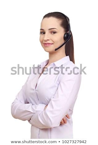 Businesswoman Using Telephone Head Set ストックフォト © goir
