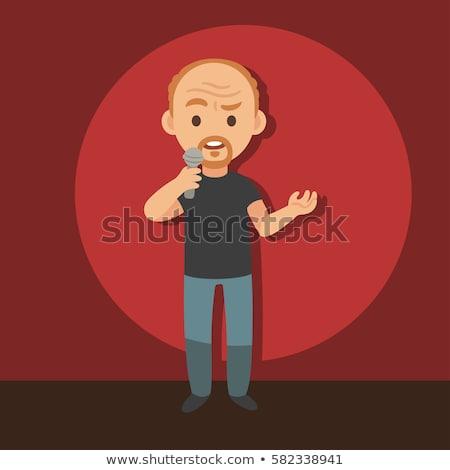 Cartoon comico microfono divertente maschio piedi Foto d'archivio © blamb