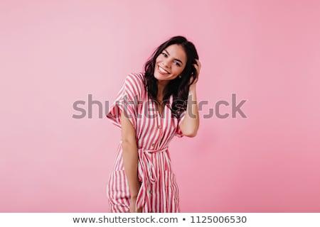 Foto stock: Atraente · mulher · jovem · marrom · vestir · foto · em · pé